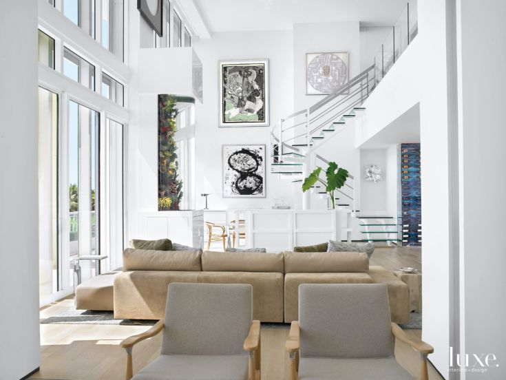Statement staircases the free floating step staircase is complimented by paintings richard serra and frank stella from evelyn aimis fine art that form  also rh pinterest