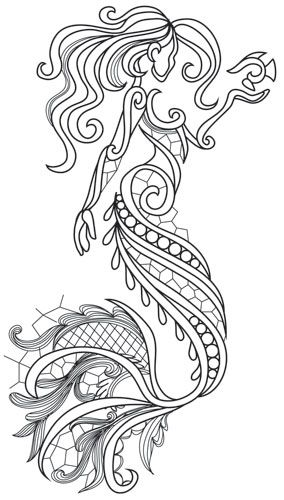 Aquarius Mermaid Coloring Pages Mermaid Tattoos Pattern Tattoo
