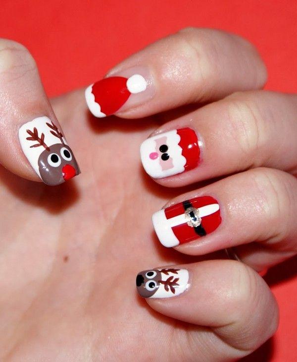 Santa Hat Nails Tutorial ... #SantaHatNailArt #NailArtDesigns  #ChristmasNailArt - Santa Hat Nails Tutorial #SantaHatNailArt #NailArtDesigns