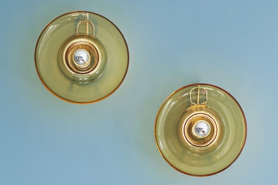 venini, 1970′s, italy, glass sconces