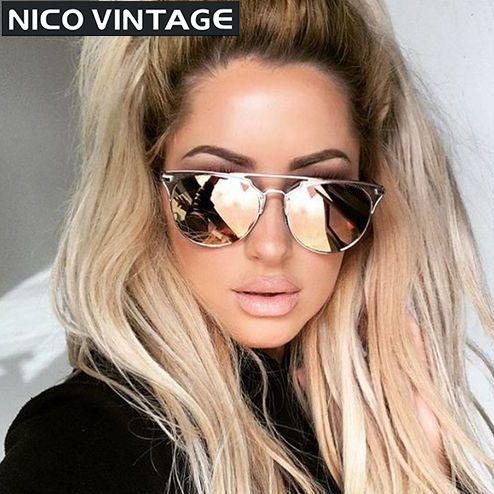 trioo miroir or rose femmes lunettes de soleil ronde marque de luxe femmes lunettes de soleil. Black Bedroom Furniture Sets. Home Design Ideas