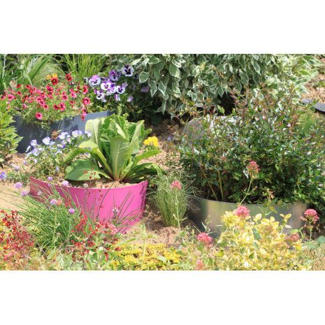 Bordure De Jardin Demi Lune En Acier Galvanise Brut Pour Talus Bordure Jardin Plante Jardins