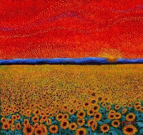 SUNFLOWER SUNSET - oil on board by H M Saffer | Sunflower ...