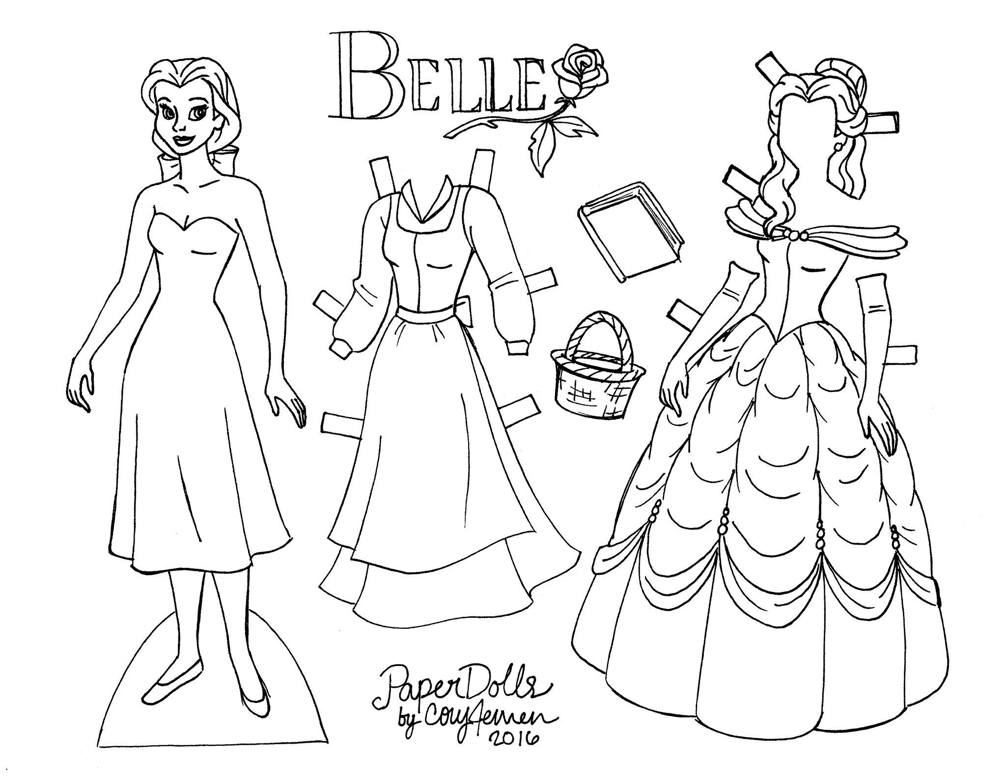 Belle Paper Doll To Color From The Original Animated Film By Cory Jensen Disney Paper Dolls Paper Doll Template Paper Dolls