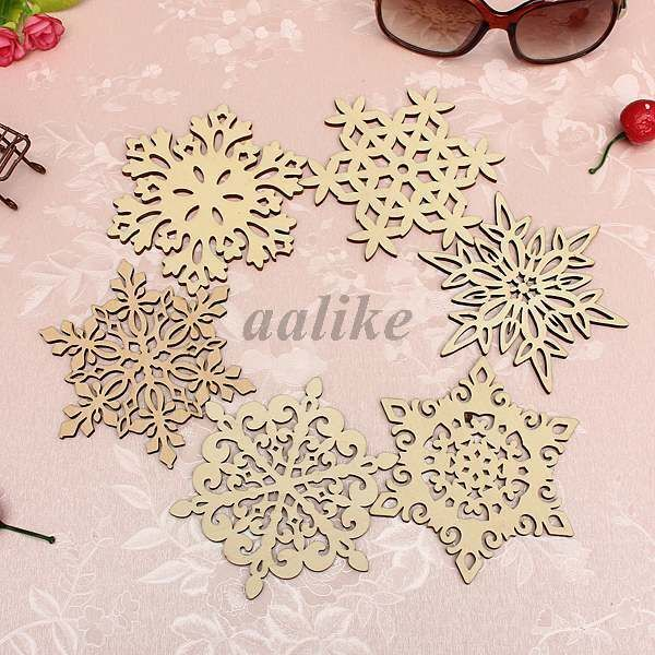 Chic Xmas Carved Wood Wooden Snowflake Drinks Cup Holder Mat Natural  Coasters