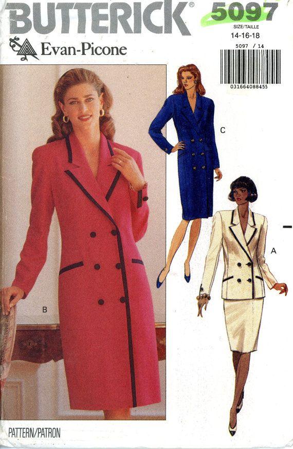 Butterick 5097 Designer Evan Picone Coat Dress Suit Jacket Top Skirt