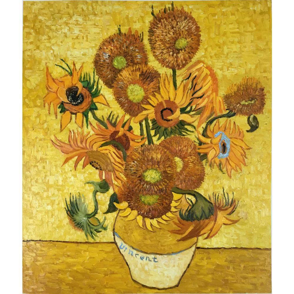 Handmade Framed Oil paintings flower still life vase with sunflowers ...