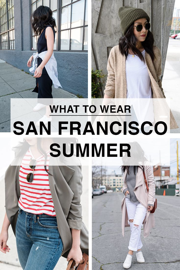 Outfit ideas and what to wear in San Francisco in June. San