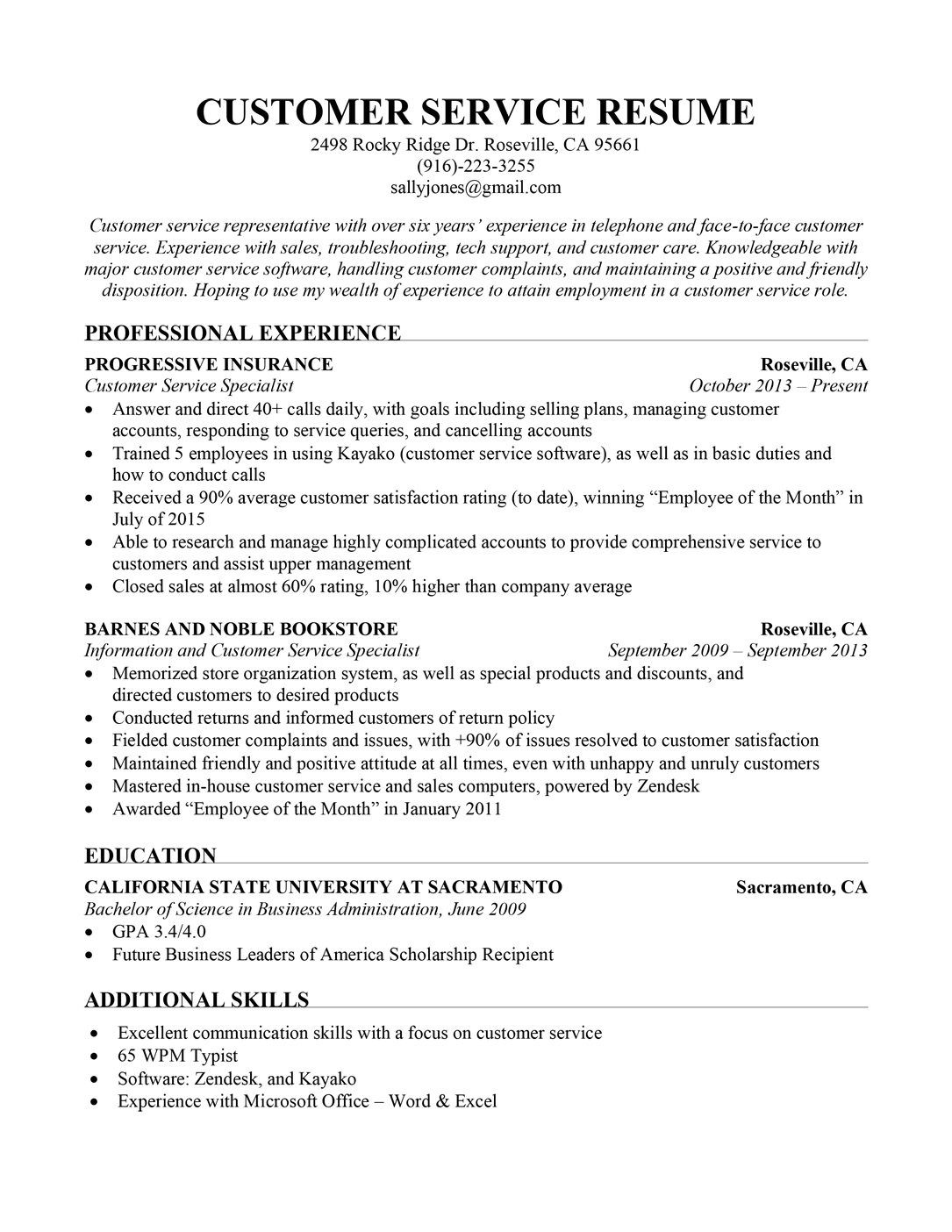 Customer Service Resume Sample Resume Companion in 2020