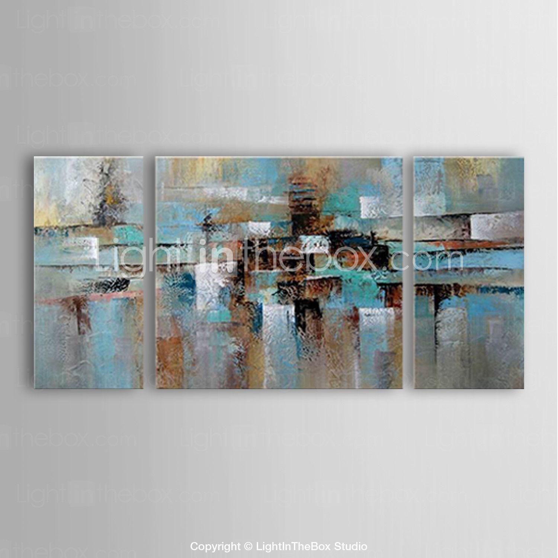 Pintada a mano Abstracto Panorámica,Modern Tres Paneles Pintura al ...