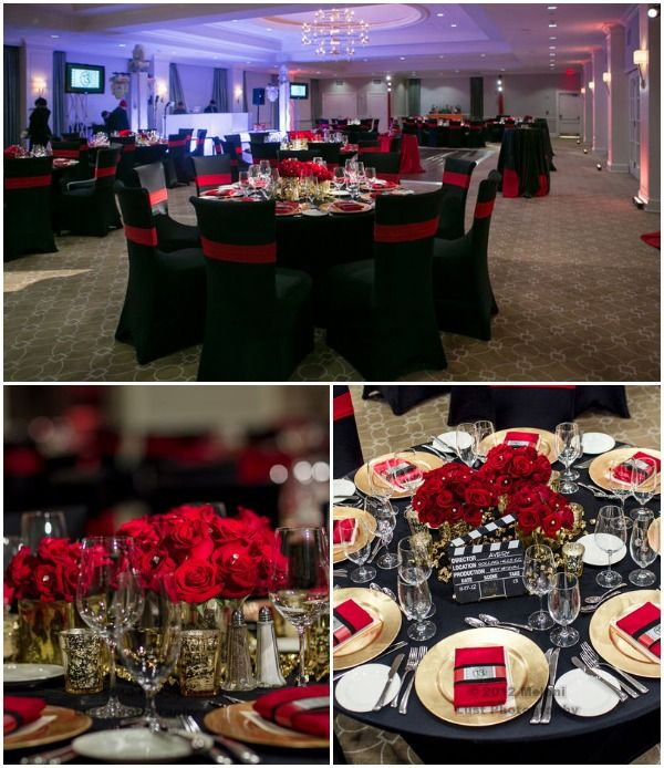 Black Red Gold Hollywood Centerpieces Melani Photography