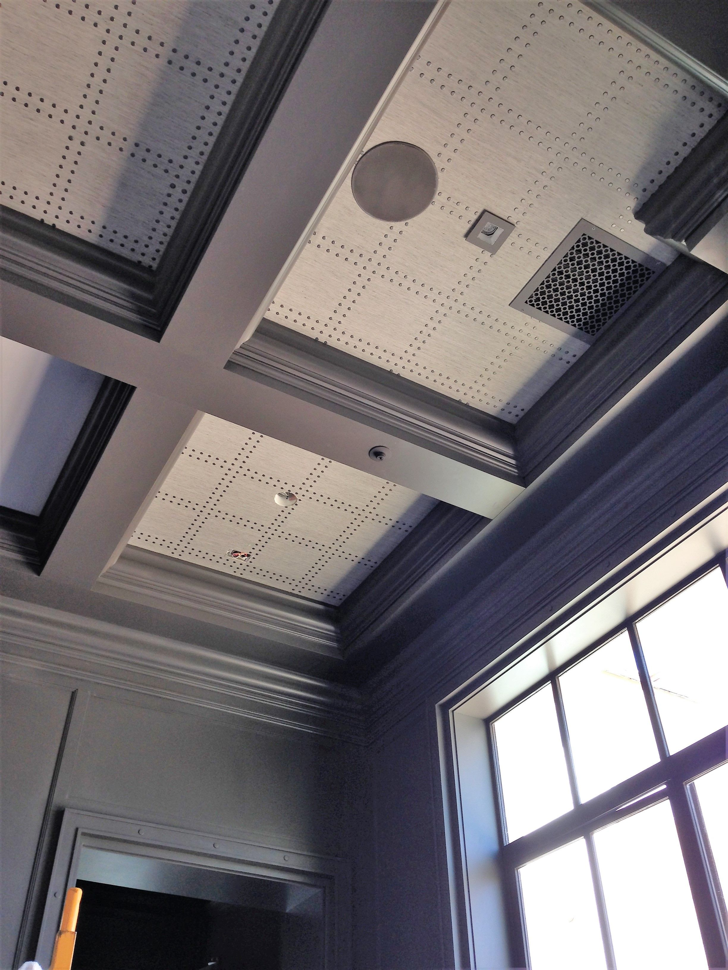 Phillip Jeffries Rivets Installed On A Coffered Ceiling