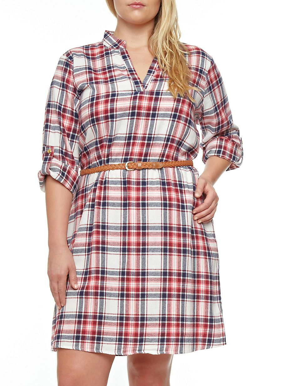 Flannel shirt dress plus size