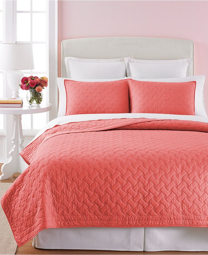 Martha Stewart Collection Basket Stitch Full/Queen Quilt (Coral ... : coral colored quilt - Adamdwight.com