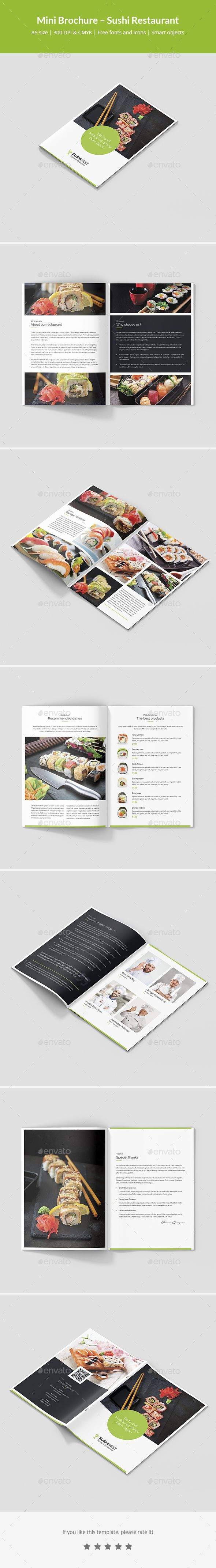 Sushi Restaurant A5 Mini Brochure Template Psd 12 Pages Brochure