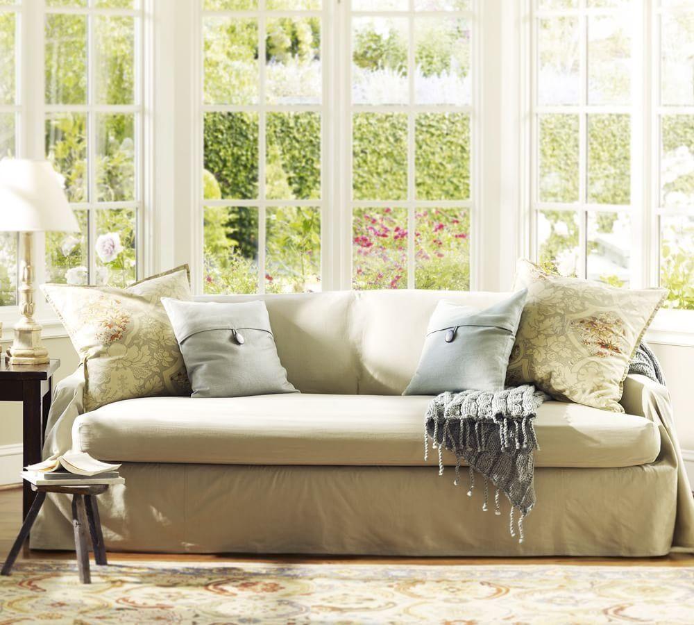 PotteryBarn CottonLinen Separate Seat Dropcloth Slipcover Sofa