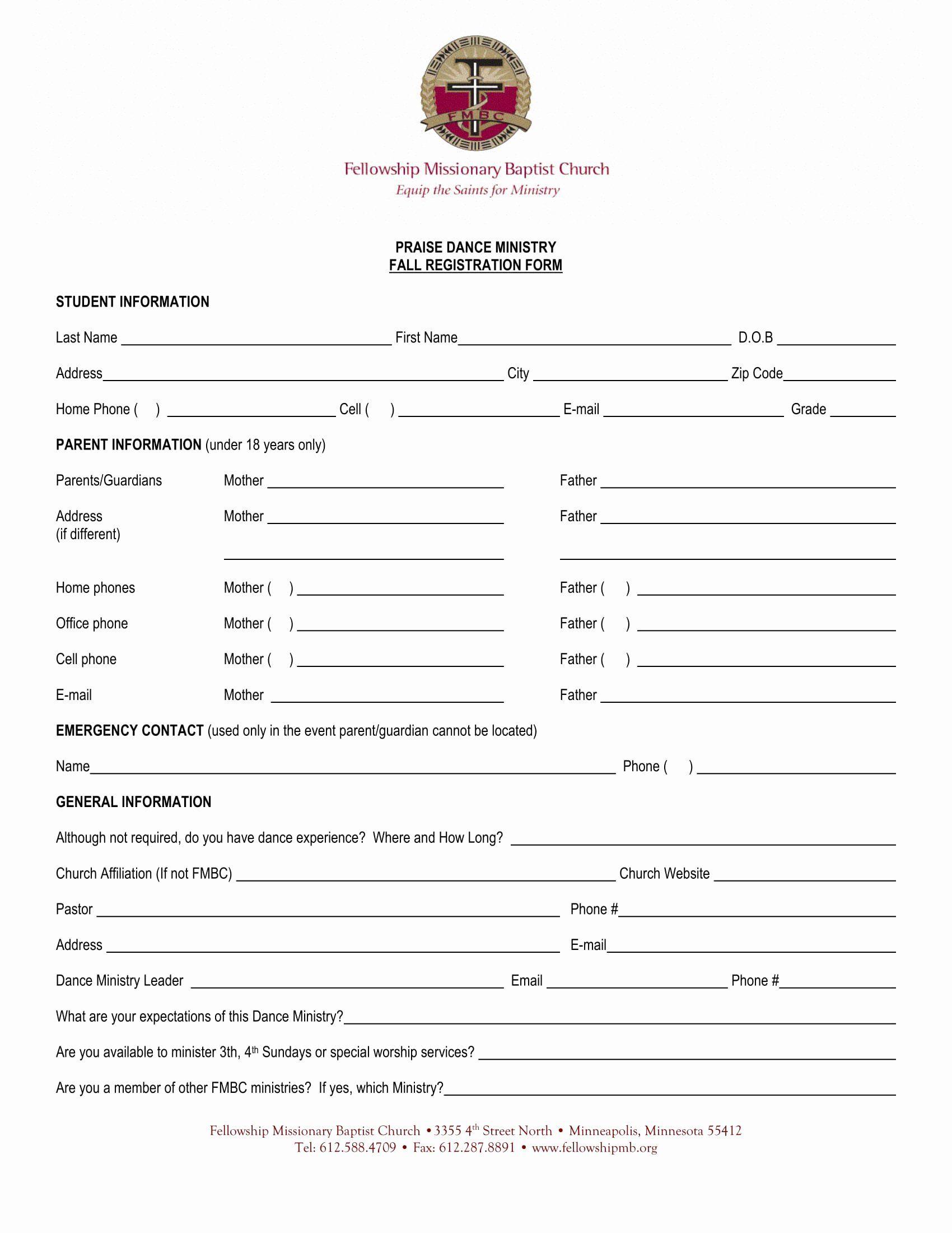 Church Registration Form Best Of 10 Dance Registration Form Samples Registration Form Sample Registration Form School Report Card