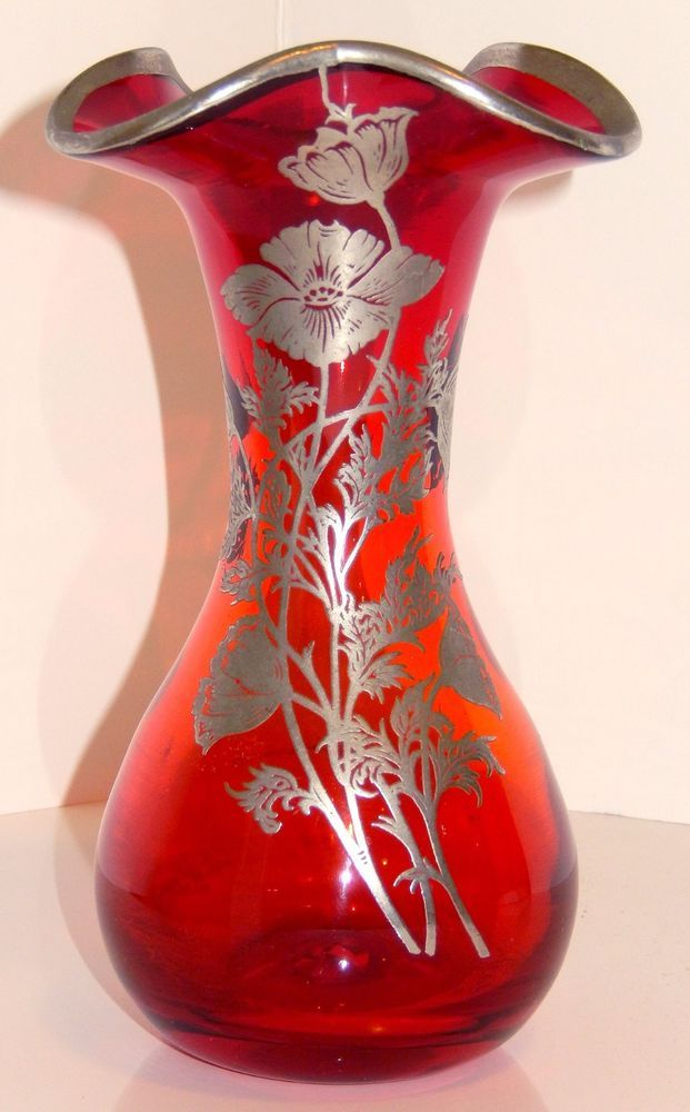 Ruby Red Glass Vase Cambridge Applied Silver Overlay Flower Design