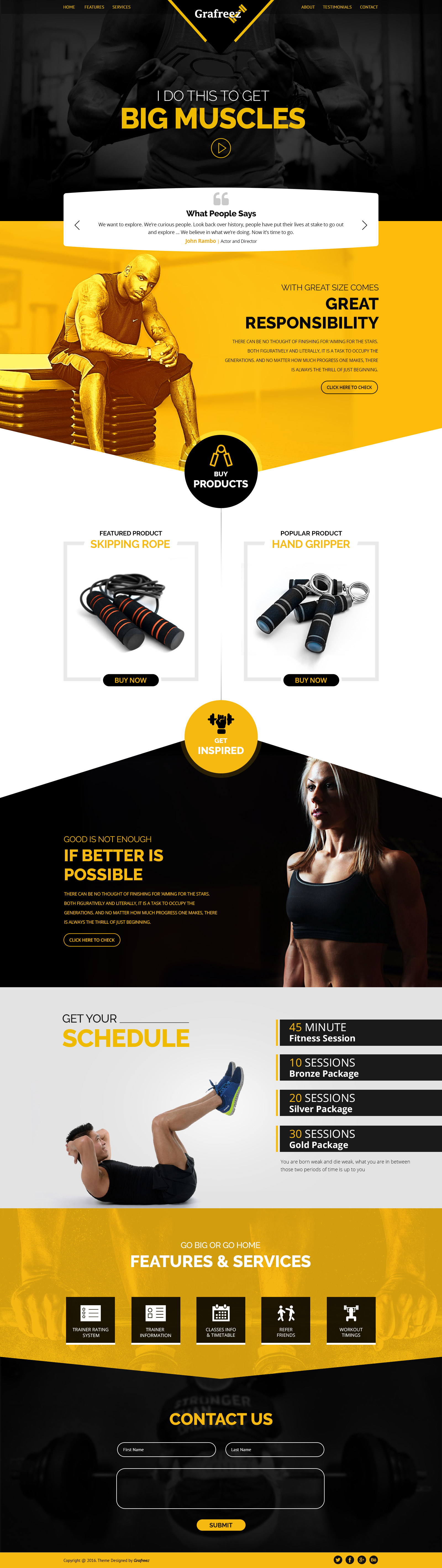 power is a free gym psd template based on 12 column bootstrap grid