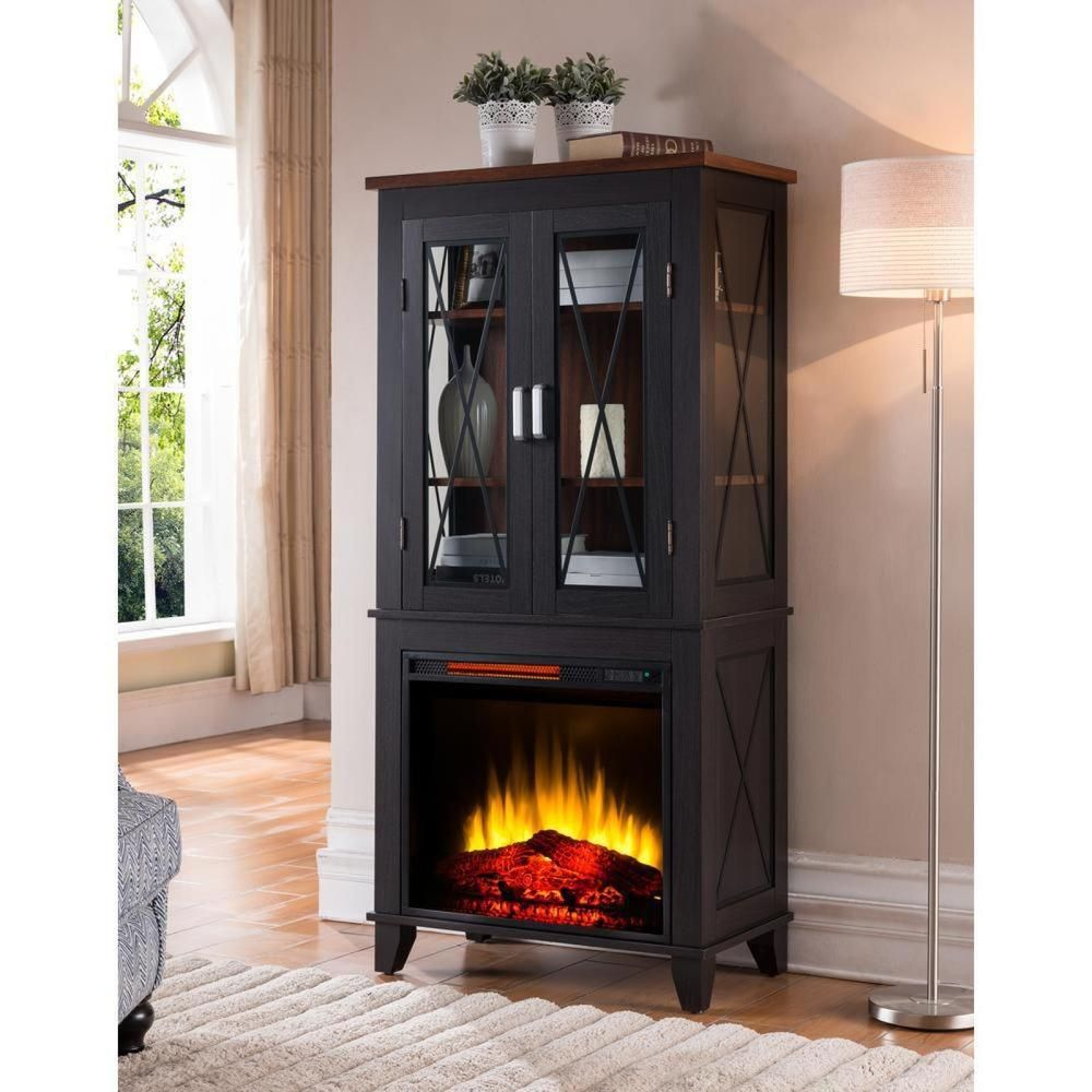 Electric Fireplace Heater Curio Cabinet Black Wood Glass Display