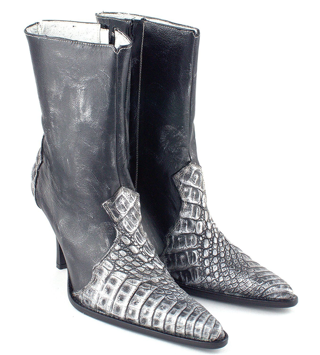 Women Luxury Caiman Leather Dress Boot Shoe High Heel