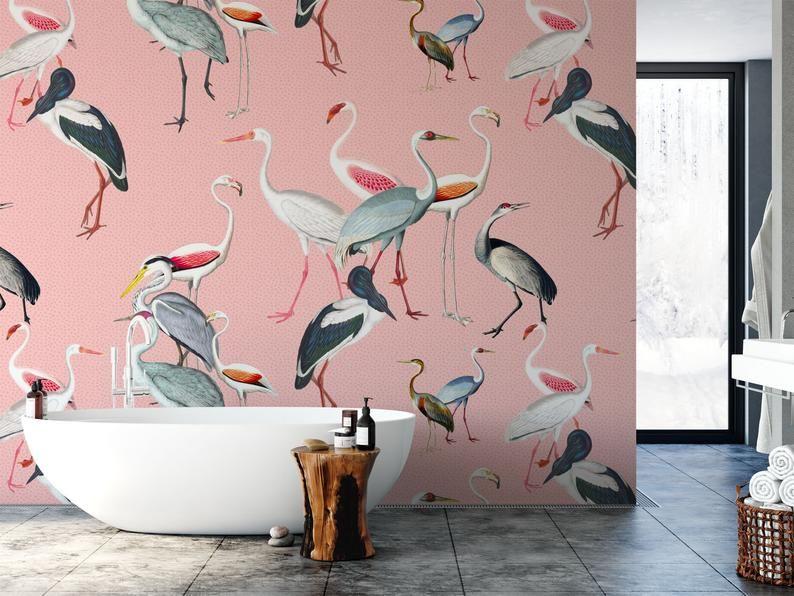 Removable Wallpaper Mural Crane Wallpaper Bird Wallpaper Etsy In 2021 Mural Wallpaper Removable Wallpaper Bird Wallpaper