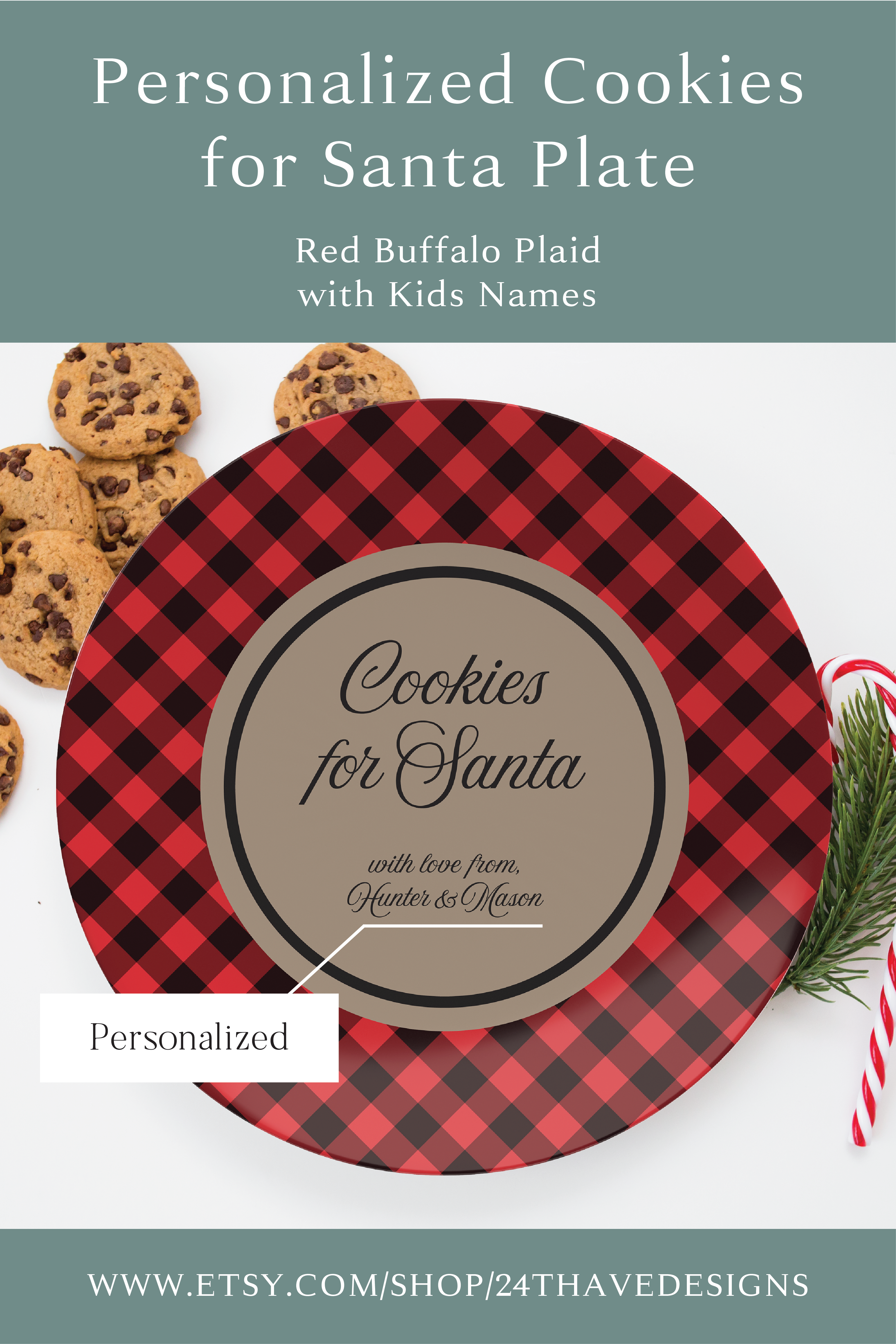 Cookies For Santa Buffalo Plaid Plate - Personalized with Kids Names - Santa cookie plate Start a family tradition every Christmas Eve by placing cookies for Santa on your very own 10