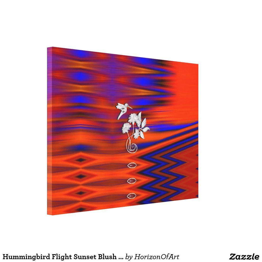 Hummingbird Flight Sunset Blush Wrapped Canvas