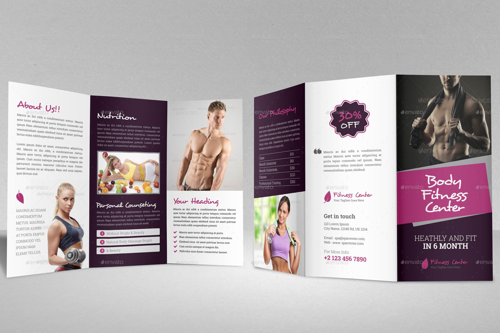Gym Fitness Trifold Brochure Indesign Template #Trifold