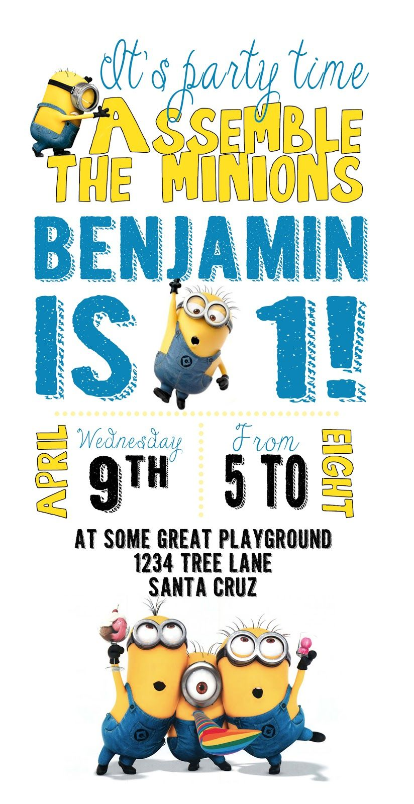 photograph relating to Free Printable Minion Invitations named Do-it-yourself Style and design Den: Minion birthday get together with absolutely free printables
