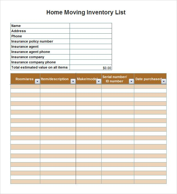 insurance inventory template