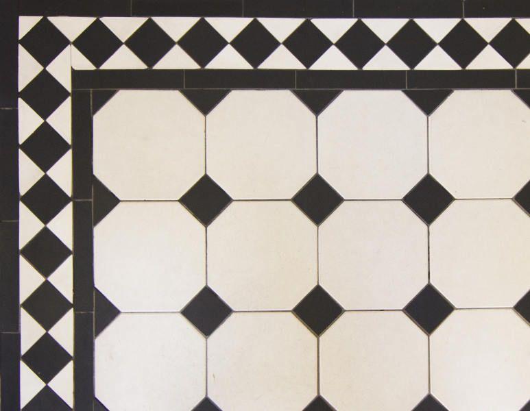 Tile Border Victorian Floor Tiles Classic Black White 12 Cm