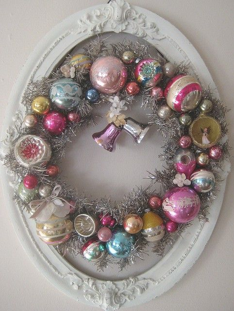 Great idea to save old christmas ornaments & create a memory wreath