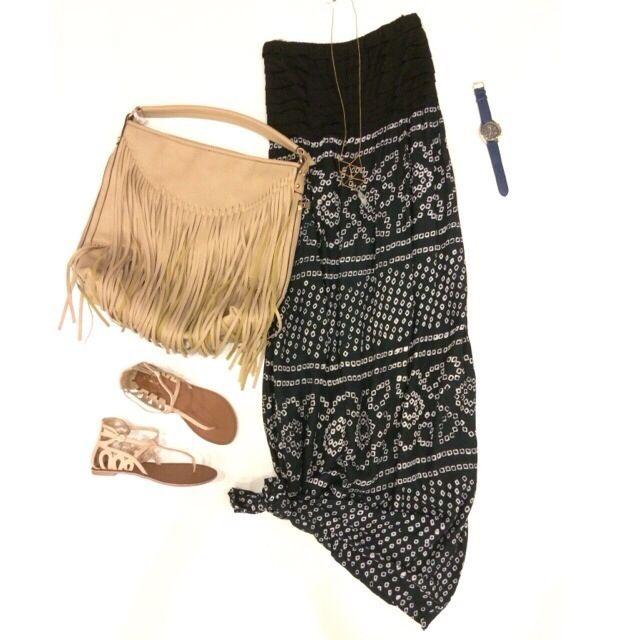 ☀️ 'Island Hopper Maxi Dress' ($38.99), 'Cutout Sandal' ($24.99) in store at #4thandocean 'Cream Tassel Bag' ($45-#sophieandtrey)! All items online at www.sophieandtrey.com #aztec #freeshipping #maximonday