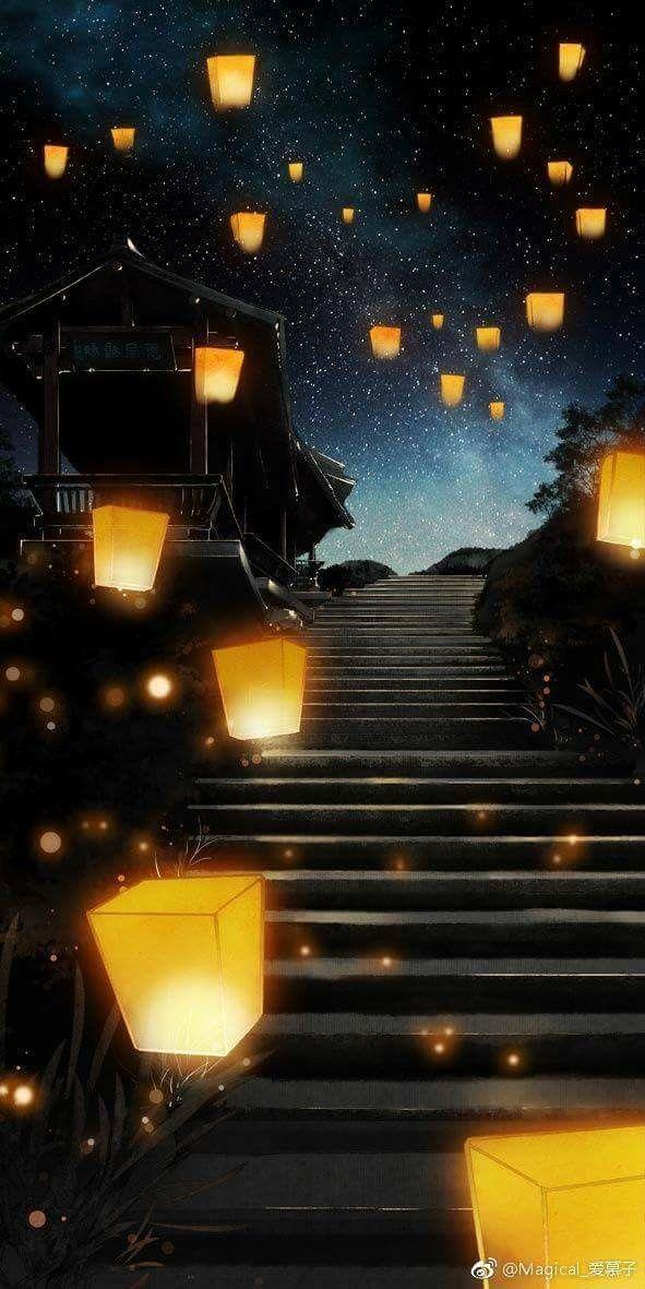 Japanese Lanterns Fashion Art Anime Scenery Fantasy Art