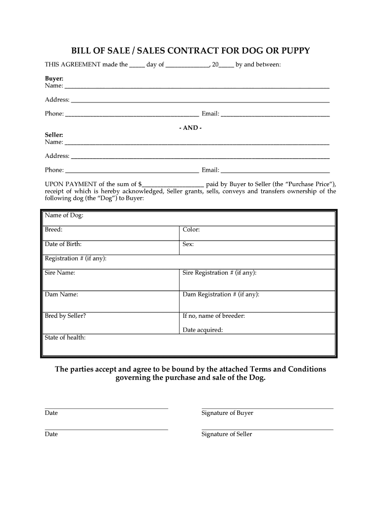 Puppy Contract Template Pdf Fill Online, Printable