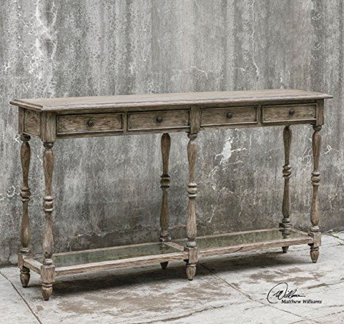 Extra Wide Distressed Weathered Wood Console Table Long https