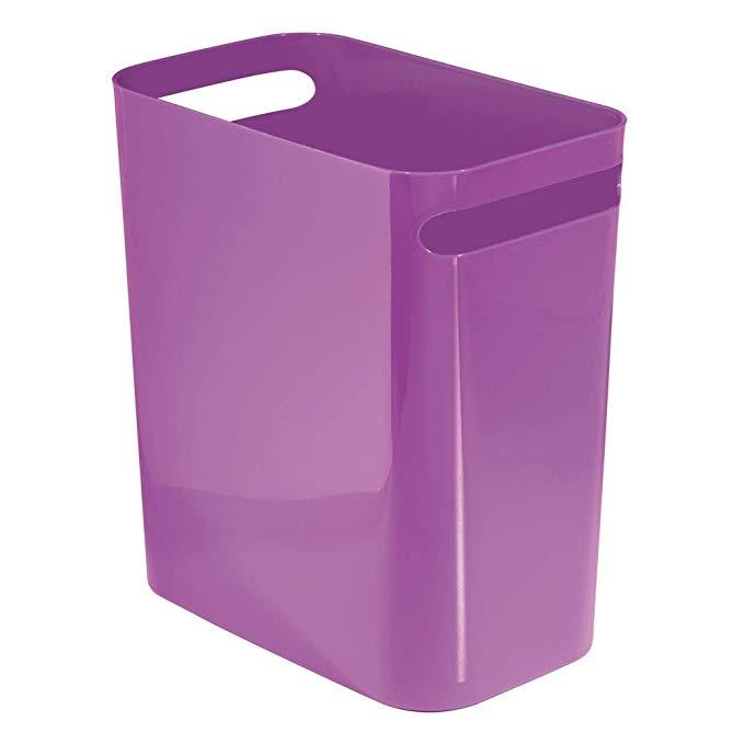 Amazon Com Mdesign Slim Plastic Rectangular Large Trash Can Wastebasket Garbage Container With Handles For Bathro Garbage Containers Waste Basket Garbage Bin