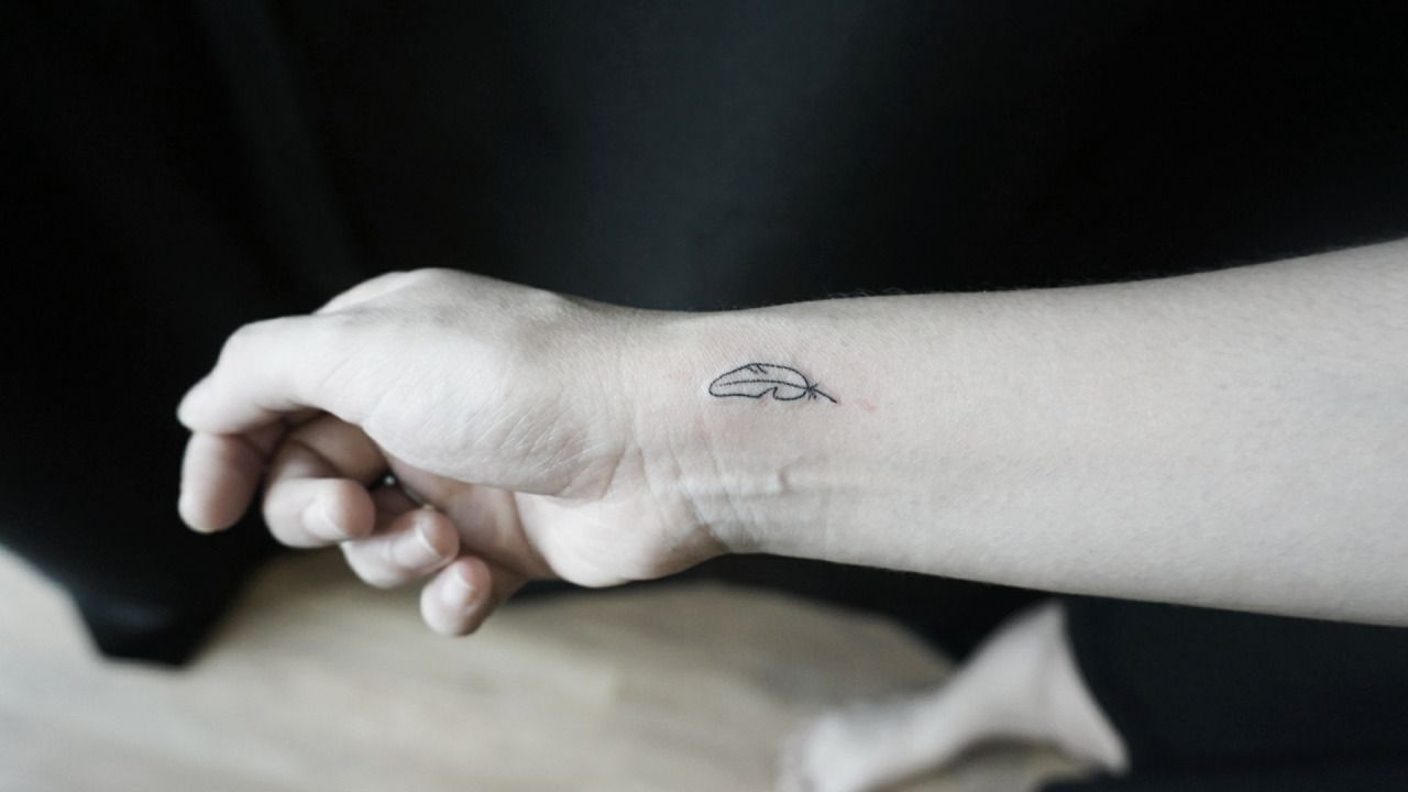 Minimalist quill feather + tiny branch | Tattoos, Feather ...