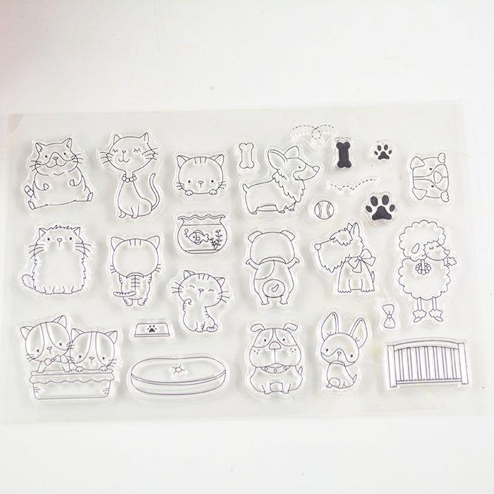 c47d09384e Coolhoo estilo del gato sello claro Transparente Ecológico Sello De DIY  Toma de Scrapbooking/Tarjeta/Suministros de Decoración en Sellos de Office  & School ...