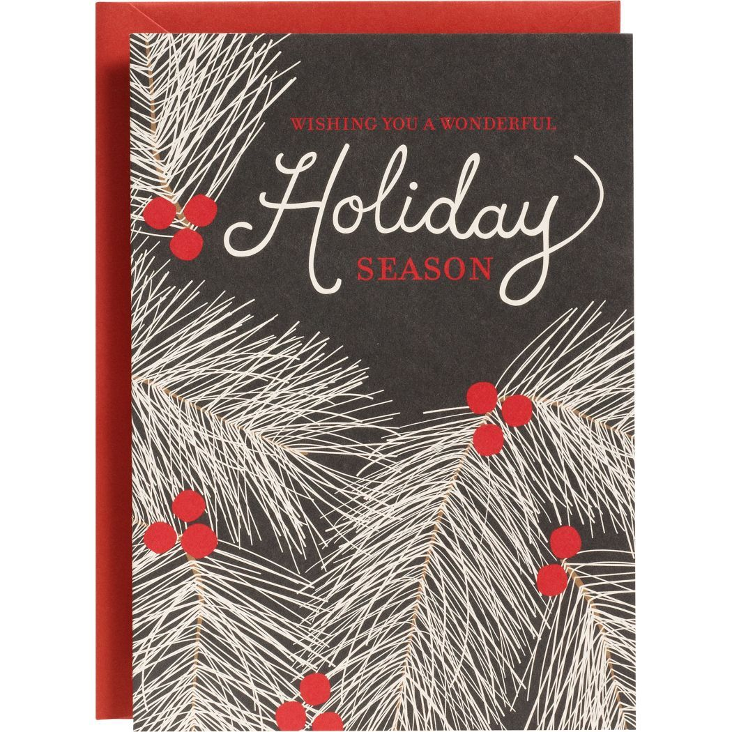 Slate Pine Branches Holiday Card | Paper Source - love the white ...
