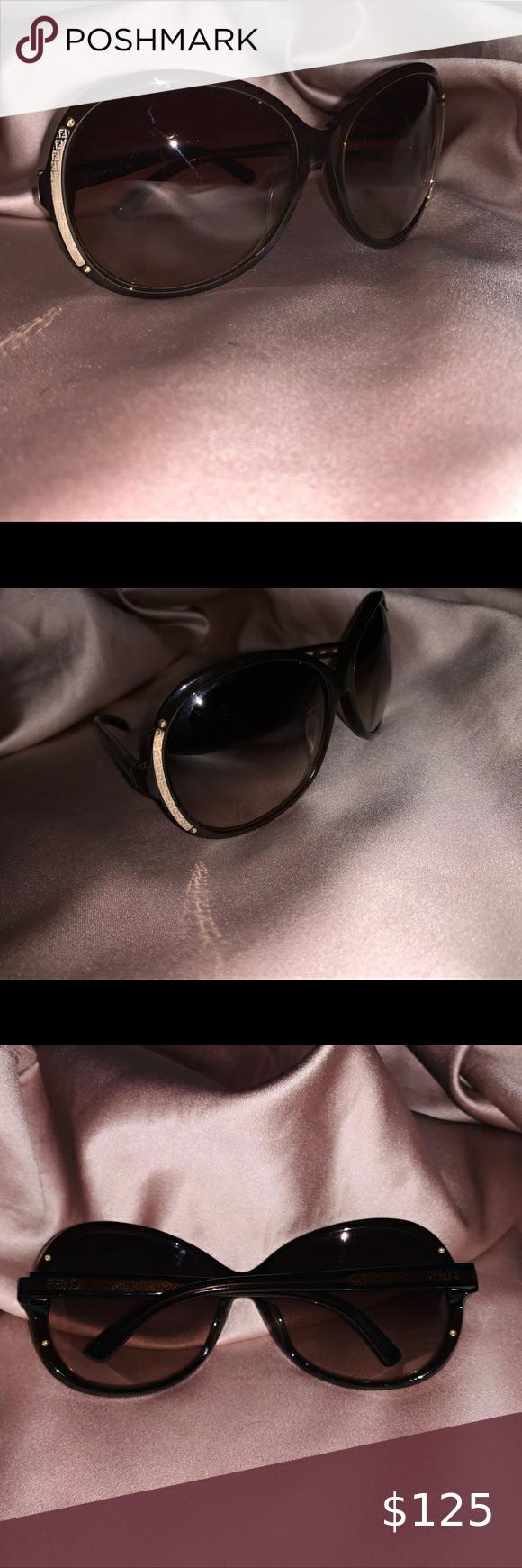 Fendi Oval Sunglasses Black Gold Brown 100% Auth Fendi Oval sunglasses !!! Like …