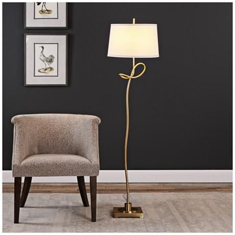 The twist to this modern plated antique brass floor lamp is that it will enhance any room with its chic endearing style style at lamps plus