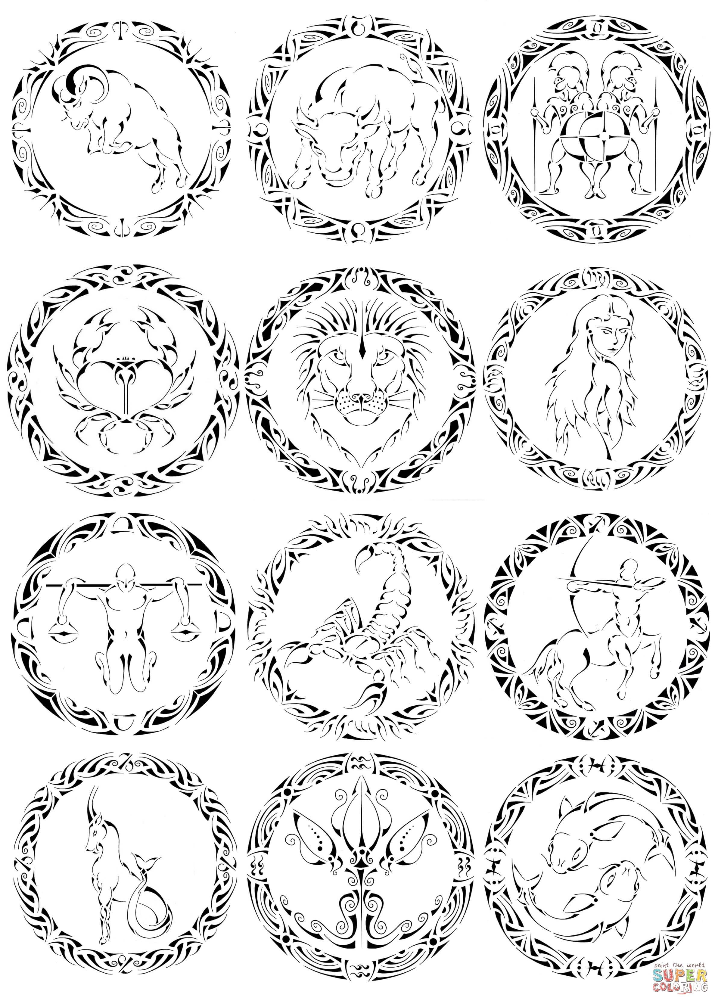 Zodiac Signs By Curvy Tribal Super Coloring Kostenlose