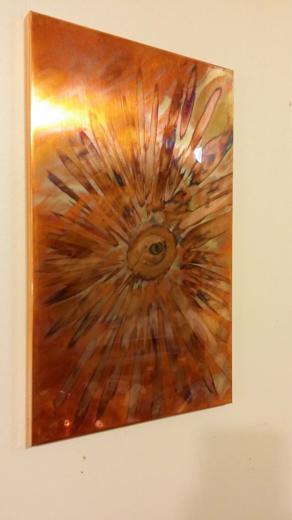 Flame painted copper wall art
