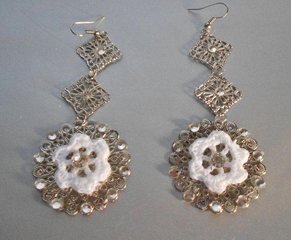 Crochet Earrings-Crystal Crochet Earrings-Bridal Crochet Earrings-Filigree Earrings-Bridal Accesories