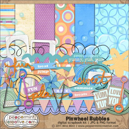 Pinwheel Bubbles #freebie kit from Peppermint Creative #digiscrap #scrapbook #digifree #scrap