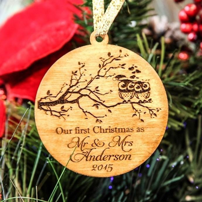 Jane - #Cabanyco Personalized Ornament / Mr Mrs Christmas Owls