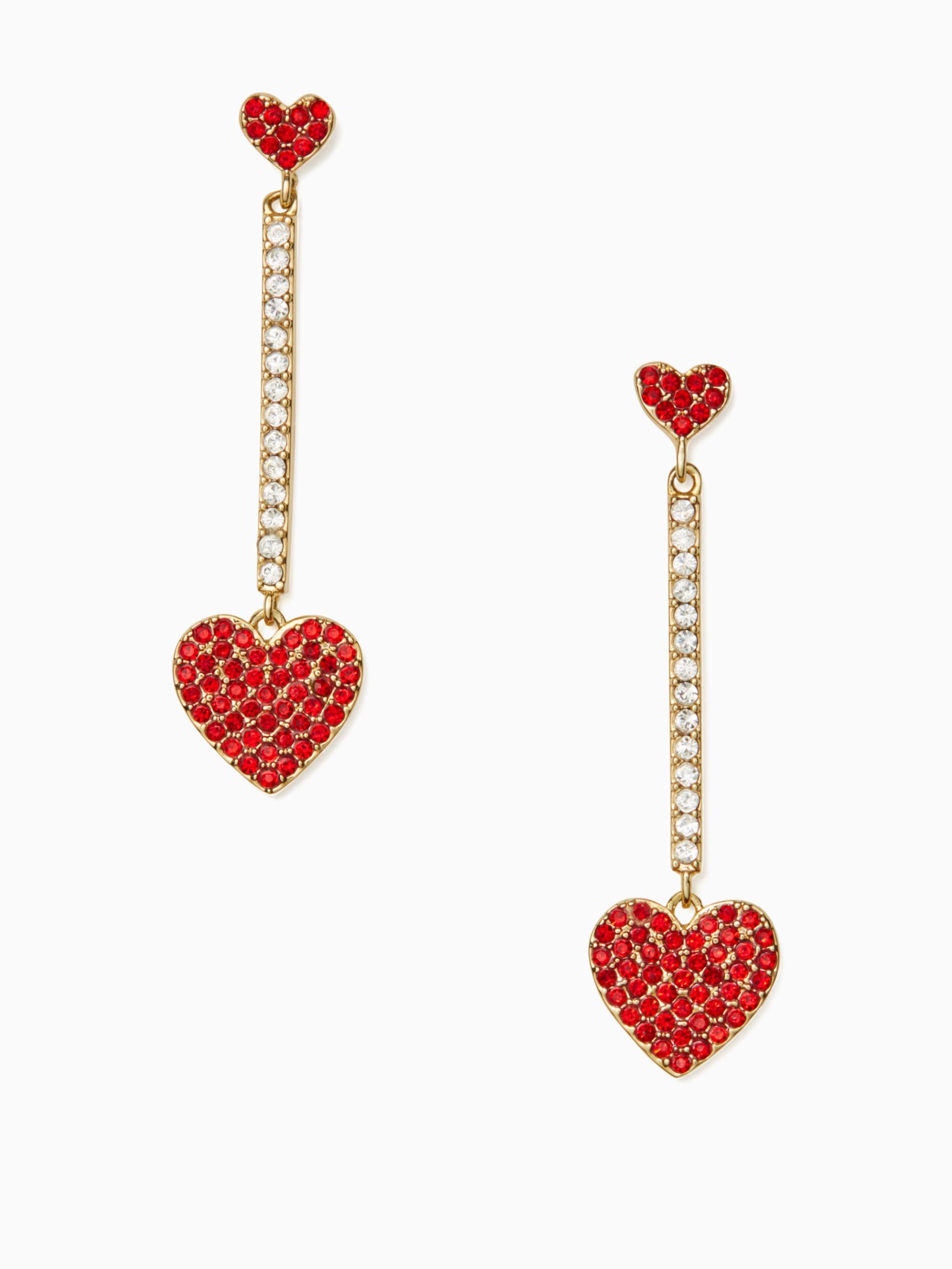 86c0b1141 KATE SPADE yours truly pave heart linear earrings. #katespade ...