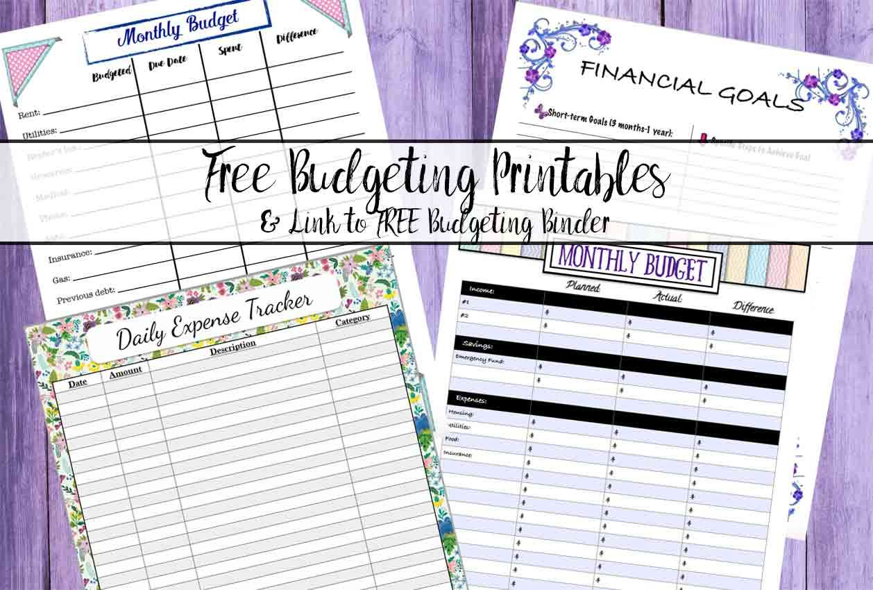 Free Budgeting Printables Expense Tracker Budget Amp Goal